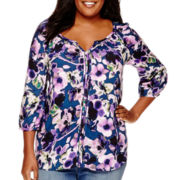 St. John's Bay® Long-Sleeve Split-Neck Peasant Top - Plus