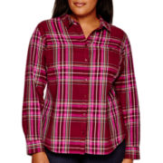 St. John's Bay® Long-Sleeve Plaid Flannel Shirt - Plus