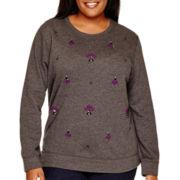 St. John's Bay® Long-Sleeve Embellished Sweatshirt - Plus