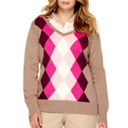 St. John's Bay® Long-Sleeve Argyle Sweater - Plus