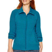 St. John's Bay® Long-Sleeve Zip Cable Cardigan - Plus