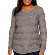 St. John's Bay® Long-Sleeve Sequin Sweater - Plus