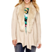 Liz Claiborne® Long-Sleeve Faux-Fur-Collar Cardigan - Plus