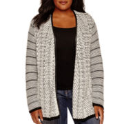 Liz Claiborne® Long-Sleeve Faux-Leather-Trim Cardigan - Plus