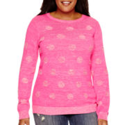 Liz Claiborne® Long-Sleeve Dot Sweater - Plus