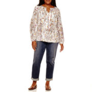Liz Claiborne® Floral Print Tunic or City-Fit Destructed Boyfriend Jeans - Plus