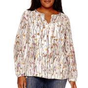 Liz Claiborne® Long-Sleeve Floral Print Popover Tunic - Plus