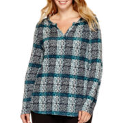 Liz Claiborne® Long-Sleeve Plaid Split-Neck Shirred-Shoulder Top - Plus