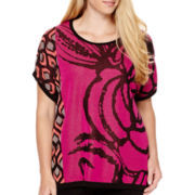 Worthington® Short-Sleeve Mix Print Pullover Sweater - Plus
