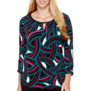 Worthington® 3/4-Sleeve Keyhole T-Shirt - Plus