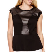 Worthington® Cap-Sleeve Seamed Faux Leather Peplum Blouse - Plus