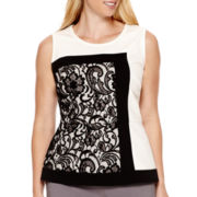 Worthington® Sleeveless Lace-Blocked Peplum Blouse - Plus