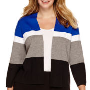 Liz Claiborne® Colorblock Sweater Jacket - Plus