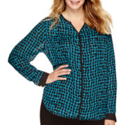 Liz Claiborne® Long-Sleeve Print Popover Blouse - Plus