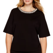 Liz Claiborne® 3/4-Sleeve Jeweled-Neck Textured T-Shirt - Plus