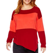a.n.a® Long-Sleeve Asymmetrical Striped Sweater - Plus