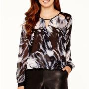 Bisou Bisou® Long-Sleeve Lace-Shoulder Surplice Blouse