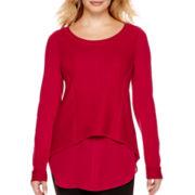 Worthington® Long-Sleeve Layered High-Low Sweater