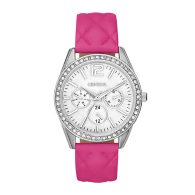 jcpenney.com | Womens Crystal-Accent Quilted Strap Boyfriend Watch