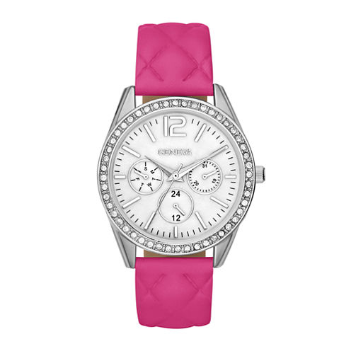 Womens Crystal-Accent Quilted Strap Boyfriend Watch