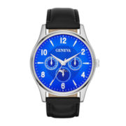 Mens Moon Phase-Look Black Strap Watch