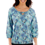 St. John's Bay® 3/4-Sleeve Knit Peasant Top