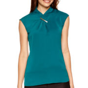 Worthington® Sleeveless Wrap-Neck Blouse