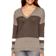 a.n.a® Long-Sleeve V-Neck High-Low Sweater- Petites