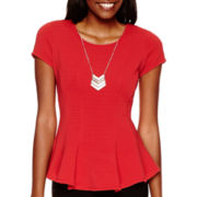 by&by Cap-Sleeve Necklace Peplum Top