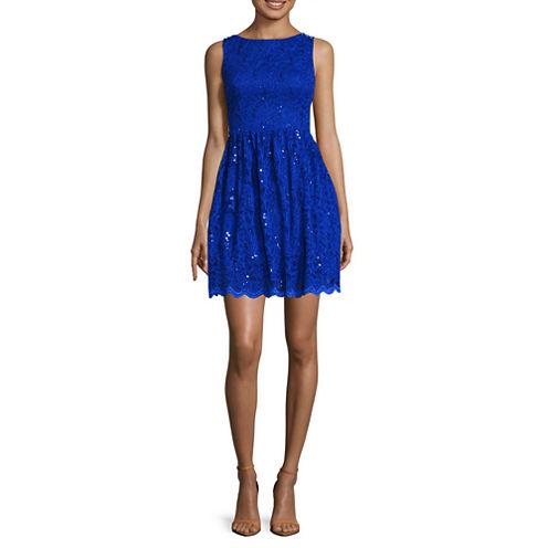 City Triangles® Sleeveless U-Back Glitter-Lace Party Dress - Juniors