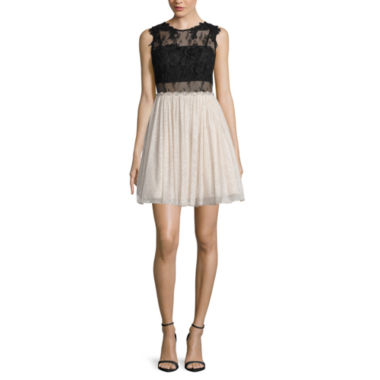 jcpenney.com | City Triangles® Sleeveless Illusion-Waist Two-Tone Party Dress - Juniors