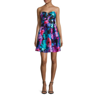 jcpenney.com | Be Smart Strapless Sweetheart Floral Party Dress - Juniors