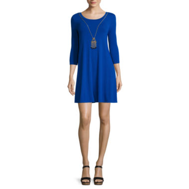 jcpenney.com | City Triangles® 3/4-Sleeve Knit A-Line Dress with Necklace - Juniors