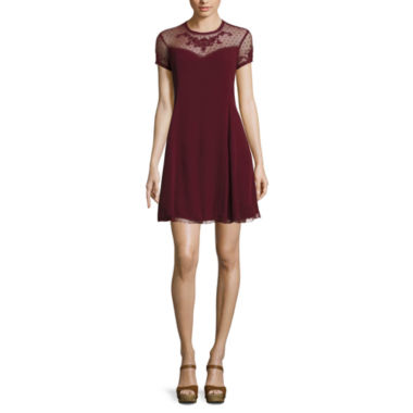jcpenney.com | City Triangles® Cap-Sleeve Lace-Yoke A-Line Dress - Juniors