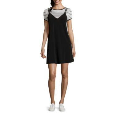 jcpenney.com | City Triangles® Short-Sleeve Striped Layered Top and A-Line Dress - Juniors