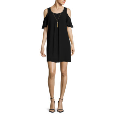 jcpenney.com | by&by Short-Sleeve Cold-Shoulder A-Line Dress with Necklace - Juniors