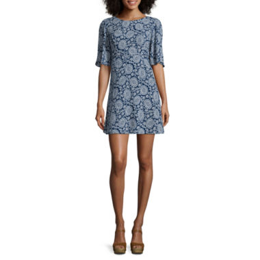 jcpenney.com | Love Reigns Elbow-Sleeve Printed Dress - Juniors