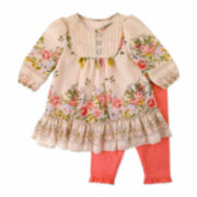 Nanette Long-SleeveTop and Coral Leggings Set - Baby Girls