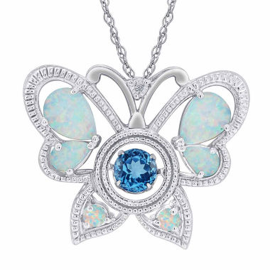 jcpenney.com | Love in Motion Created Opal Butterfly with Dancing Blue Topaz Pendant Necklace