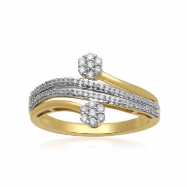 jcpenney.com | Diamond Blossom Womens 1/4 CT. T.W. Round White Diamond 10K Gold Bypass Ring