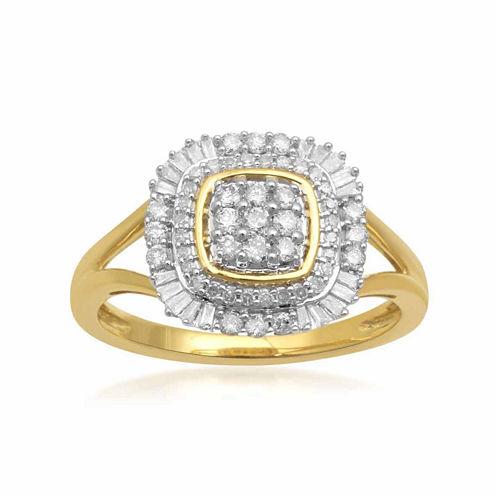 Womens 1/2 CT. T.W. White Diamond 10K Gold Cocktail Ring