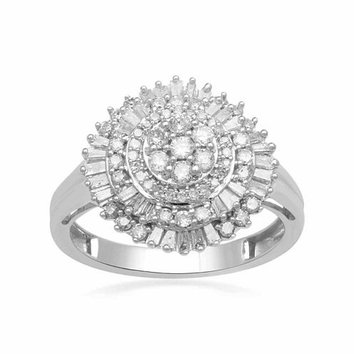 Diamond Blossom Womens 3/4 CT. T.W. White Diamond 10K Gold Cocktail Ring