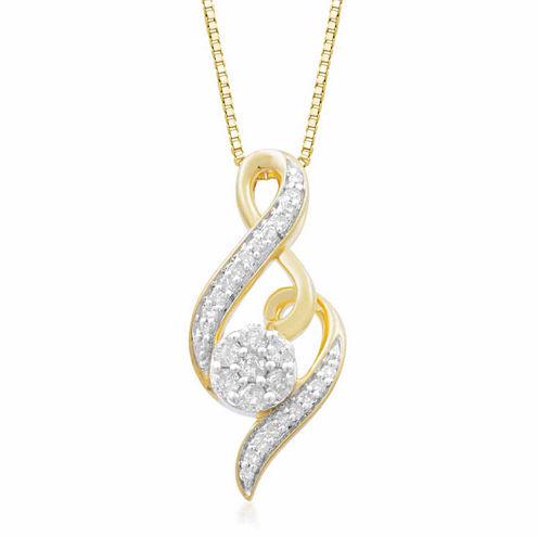 Diamond Blossom Womens 1/4 CT. T.W. White Diamond 10K Gold Pendant Necklace