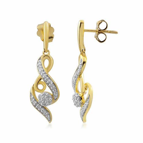 Diamond Blossom 1/4 CT. T.W. White Diamond 10K Gold Drop Earrings