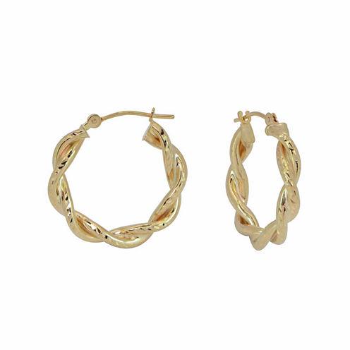 18K Yellow Gold 20mm Twist Diamond-Cut Hoop Earrings