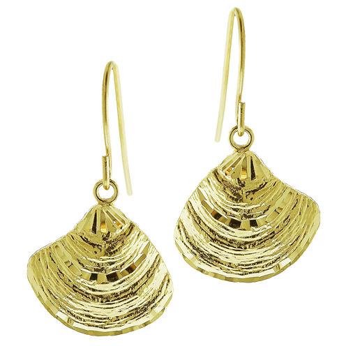10K Yellow Gold Diamond-Cut Shell Drop Earrings