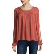 Arizona Long Sleeve Solid Peasant Top