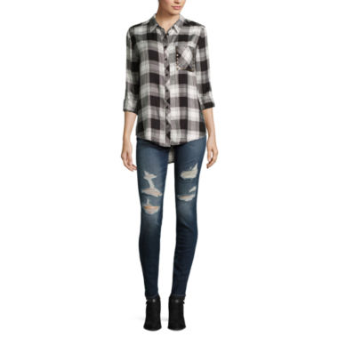 jcpenney.com | Arizona Boyfriend Plaid Shirt or High-Rise Super Skinny Jeans - Juniors