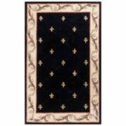 Fleur de Lis Hand-Carved Wool Rectangular Rug