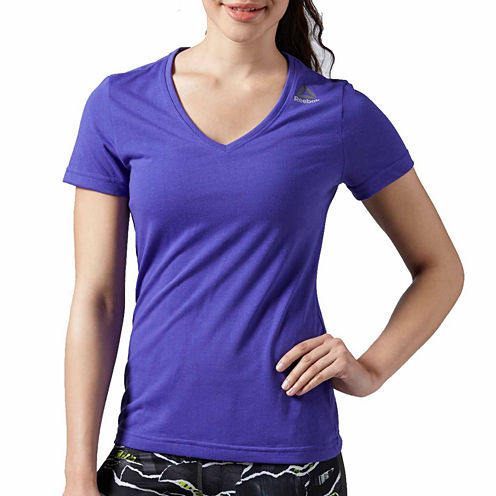 Reebok Short Sleeve V Neck T-Shirt-Womens